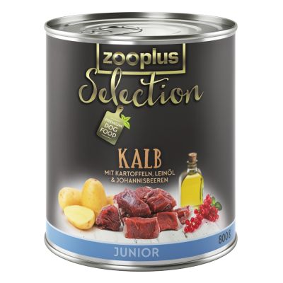 Nourriture en boite zooplus selection junior veau qui convient aux chiots beagle